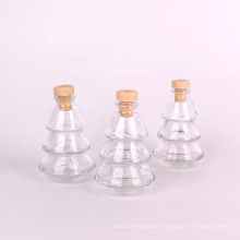 Small empty 80ml Christmas tree shape aroma reed diffuser glass bottle with cork