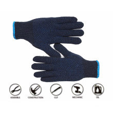 Bulk Custom Logo Design Polka Blue Cotton Knitted with Palm Double PVC Dotted Garden Work Hand Gloves Price