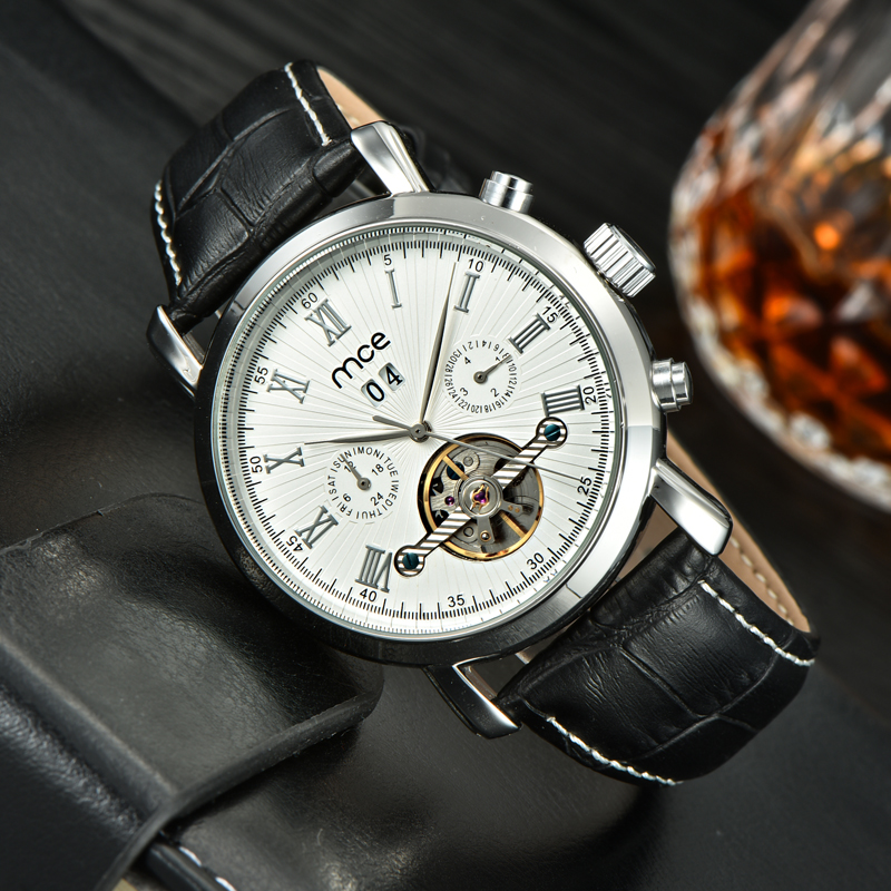 luxury pu leather date day tourbillon men watch