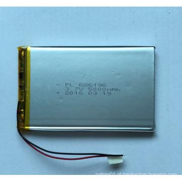 Bateria de iões de lítio de 3.7V Bateria recarregável de polímero de lítio 5000mAh 3.7V 686196