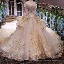 LS47522 au large de l'épaule peplum dernières appliques décentes fleurs en tissu pour les femmes plus la taille robe de mariée en mariée