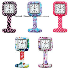 Printing Cover Unisex Nurses Lapel Silicone Watch