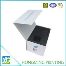 Matte White Cardboard Jewelry Box Packaging with Black Foam