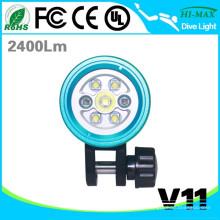 2016 HI-MAX V11 de alta potência recarregável mergulho mergulho lanterna LED