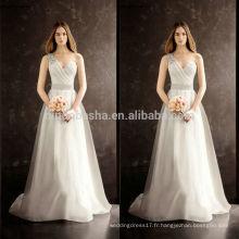 2014 Hot Sale Robe de mariée à encolure dégagée à encolure longue A-Line Robe de mariée en organza à queue d'honneur avec bretelles Sash Crystal NB0755