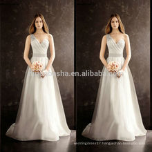 2014 Hot Sale Famous Designer Wedding Dress One-Shoulder Long A-Line Tail Organza Bridal Gown With Pleats Sash Crystal NB0755
