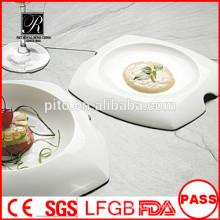 Fabrik Preis weiß dauerhaft gebrauchte Restaurant serviert Platten / einzigartige Form Abendessen Platte