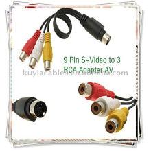 9 pines S-Video a 3 cables RCA, adaptador de cable de TV AV macho