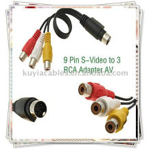9 pinos S-Video para 3 RCA cabo, TV AV macho cabo adaptador
