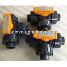Manual 3 way L-port 1/2'' pvc ball valve