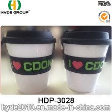 Caneca de café reusável do curso da caneca do curso com tampa e faixa do silicone (HDP-3028)