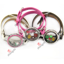 Pulsera de cuero PU Locket para la decoración de la moda de las niñas jóvenes (ZC-BL194-196)