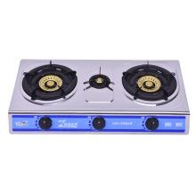Fogão a gás de aço inoxidável de três queimadores, fogo azul