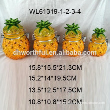 Superior pineapple design ceramic seal pot for storage