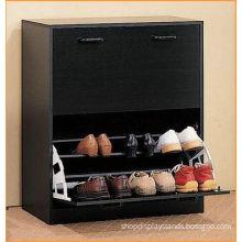 Black Modern Shoe Rack Cabinet , Wooden Shoe Cabinet Furniture