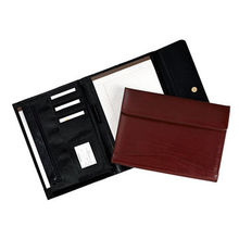 Graceful black and brown leather tri-fold magnetic portfolio