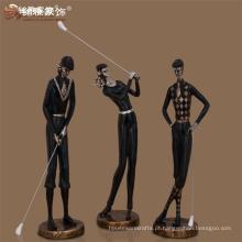Vitrinas esportivas de grande porte figuras art deco estatuas de resina de golfe para decoração de casa