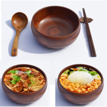 Wooden Bowl Set Soup Bowl with Spoon Chopsticks