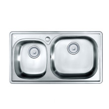 Oppein Brushed Steel Two Bowls Kitchen Sink (OP-PS626-TC)