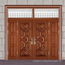 Steel four leaf door for house entrance