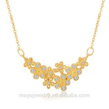 925 oro de la plata esterlina 24k llenó el collar, el pendiente y la pulsera afortunados de la flor fijados
