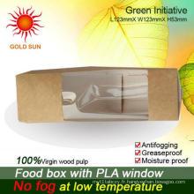 Emballage rapide pour boîtes de restauration rapide avec fenêtre anti-buée