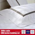 100%Cotton 300TC Satin EMB Border Hotel Linens Bedding Set
