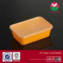 Récipient de nourriture en plastique à emporter (sk 750 oranger avec couvercle)