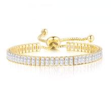 2021 Hot Selling Adjustable ladies rectangular zircon bracelet