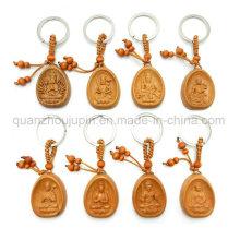 OEM Logo Buddhism Wooden Keychain Keyring Key Chain Ring