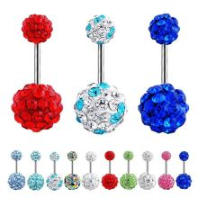 Rhinestone Ball Navel Belly Button Barbell Ring