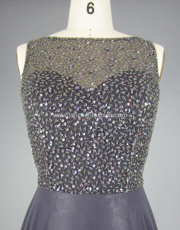 Sparkly Beading Grey Prom Evening Gown