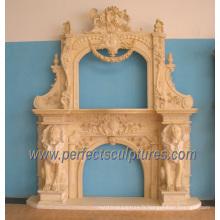 Cheminée en marbre pour mantet en pierre sculptée (QY-LS332)