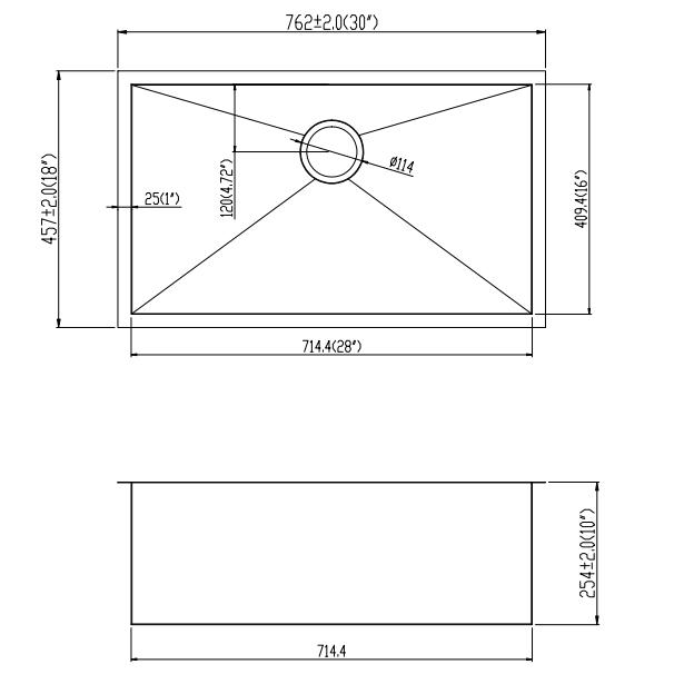 30''18''10'' line drawing