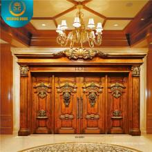 Porta dupla estilo europeu para Villa com escultura (DS-9002)