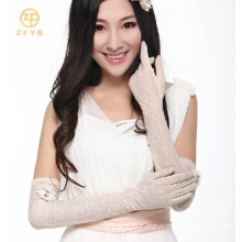 ladies long sun protection driving touch screen lace gloves