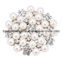 Rhinestone Flower Bridal Wedding Pin Pearl Brooch for Decorate (TB-036)