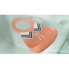 Babete à prova d'água para bebês de silicone sem BPA e mordedor removível com babadores de silicone macios coletores