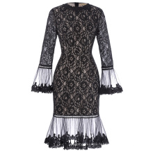 Kate Kasin Long SLeeve Poet Cuffs Crew Neck Hips-Wrapped Floral Robe en dentelle noire KK001027-1