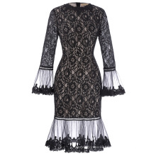 Kate Kasin Long SLeeve Poet Cuffs Crew Neck Hips-Wrapped Floral Black Lace Dress KK001027-1