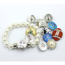 Custom Snap Button Pearl Bead Jewelry Bracelet