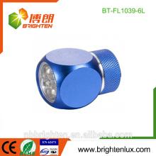 Venta al por mayor lindo regalo de aleación de aluminio en forma de lindo 2 * CR2032 operado OEM OEM mini 6Led keychain llevó linterna
