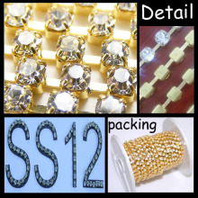 SS12 No Plating Round Base Claw Rhinestone Cup Chain