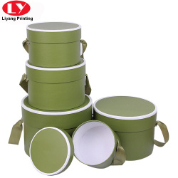 Cusotm Cardboard Round Gift Box with Ribbon Handle