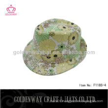 beautiful sequin flower summer sun hats short brim Girls Yellow Fedora Hats