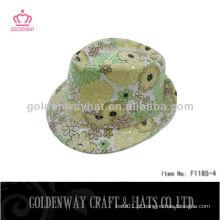 Linda sequin flor verão sol chapéus curto brim Girls Yellow Fedora Hats