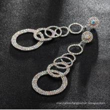 High Quality Long Tassel Circle Hoop Earrings Bling Rainbow Clear Rhinestones Nightclub Sexy Earrings