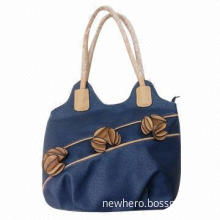 Fashionable Navy Blue Synthetic Handbag with Flowers Decoration, Various Colors are Available