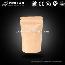 Bolsa de cierre con cremallera de papel para alimentos / pvc bolsa de cierre con cremallera impermeable / bolsa de cierre con cremallera de papel
