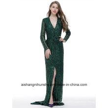 V-Neck Fashion Evening Dress Beaded Diamond Long Sleeve